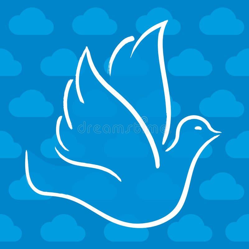 在多云天空的鸠飞行在蓝色和白色口气 皇族释放例证