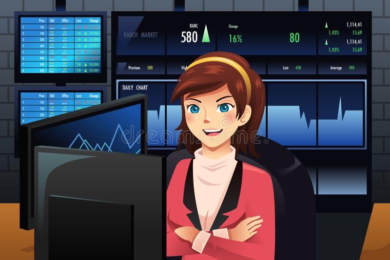 在多台显示器前面的股票交易商 向量例证