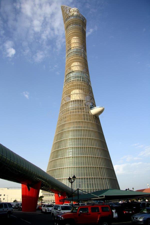 在多哈,卡塔尔亦称向往塔火炬旅馆 库存图片
