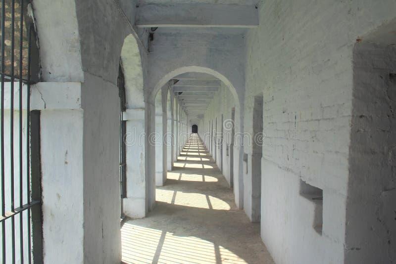 在多孔的监狱的边 免版税图库摄影