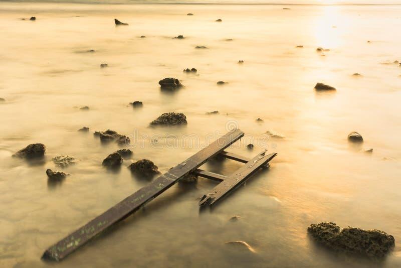 在多岩石的海滩的废木料在日落天空 ?? 库存照片