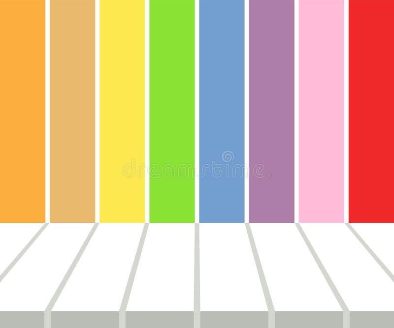 在多彩多姿的条纹背景的空的白色桌面显示 向量例证, EPS10 皇族释放例证