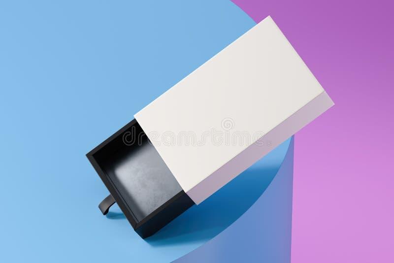 在多彩多姿的背景隔绝的空白的白色和黑现实纸板箱 3d?? 向量例证