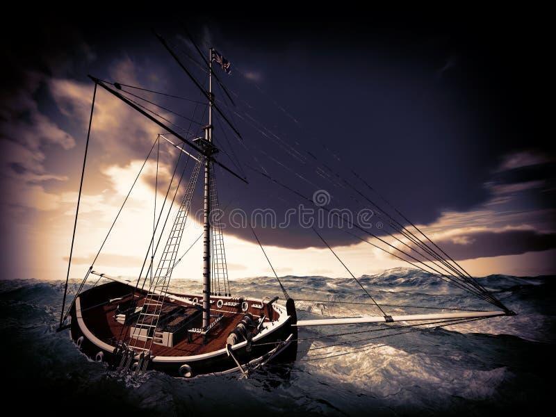 在多暴风雨的天气的海盗船图片