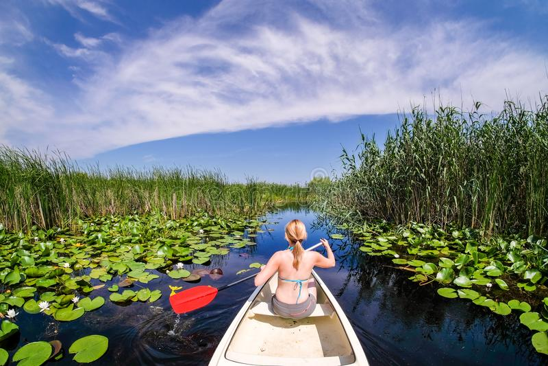 在多瑙河三角洲的妇女航行与小船 免版税图库摄影