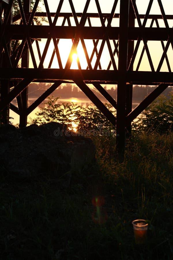 在多瑙河和石头,保加利亚的日落 图库摄影
