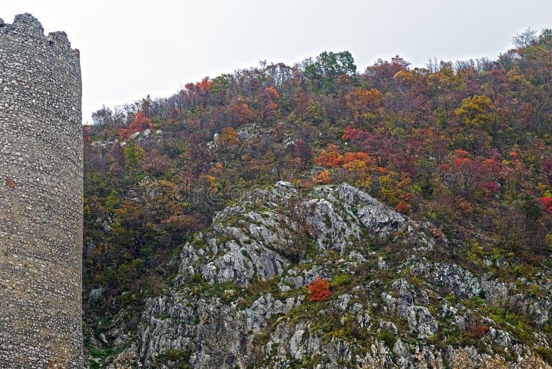 在多瑙河峡谷的秋天 库存照片
