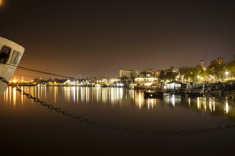在多瑙河的夜班 库存照片