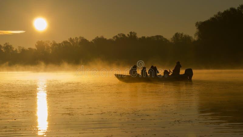 在多瑙河的日出 库存照片