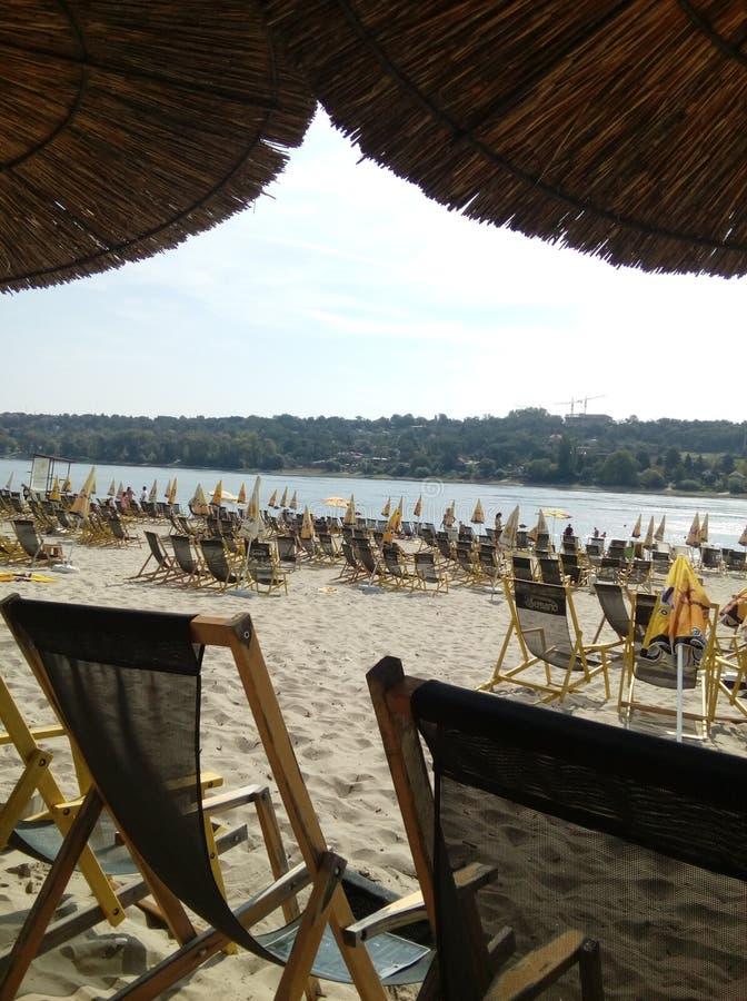 在多瑙河的美丽的城市海滩 免版税图库摄影