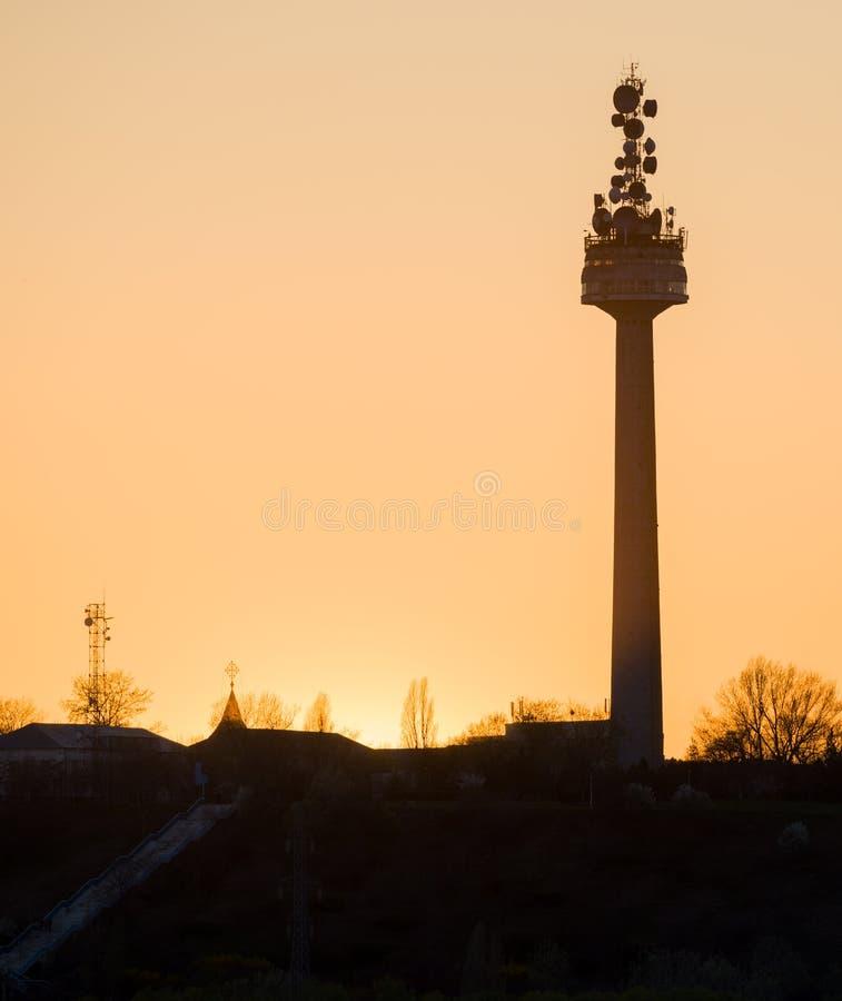 在多瑙河附近的电视塔在Galati市 库存图片