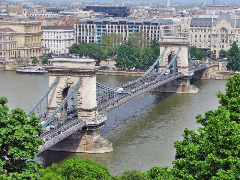 在多瑙河,布达佩斯的Szechenyi铁锁式桥梁 库存图片