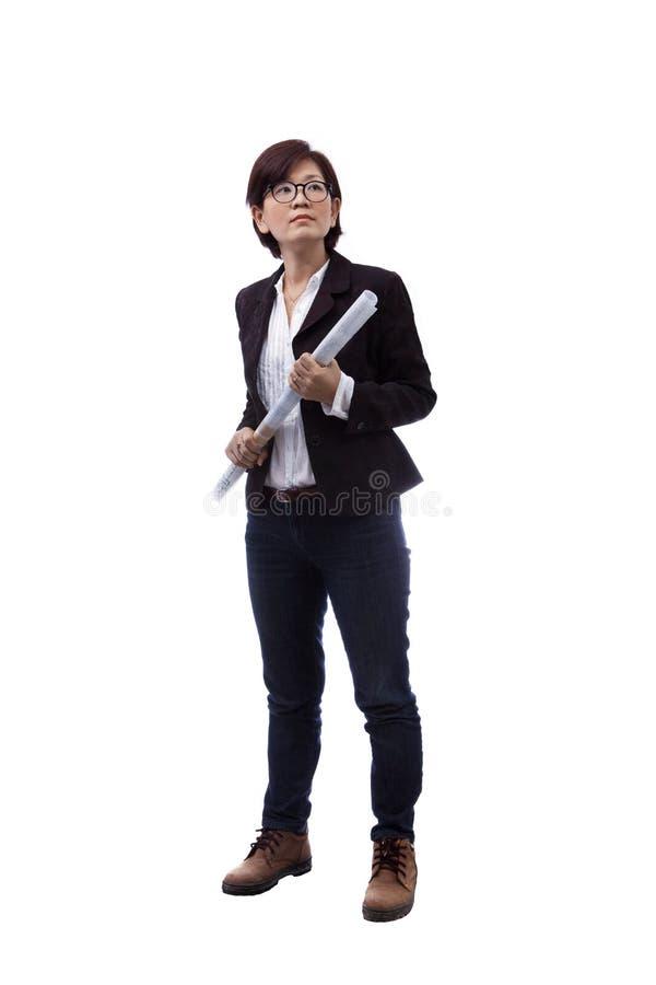 在多用途的白色用途隔绝的女性建筑师 免版税库存图片