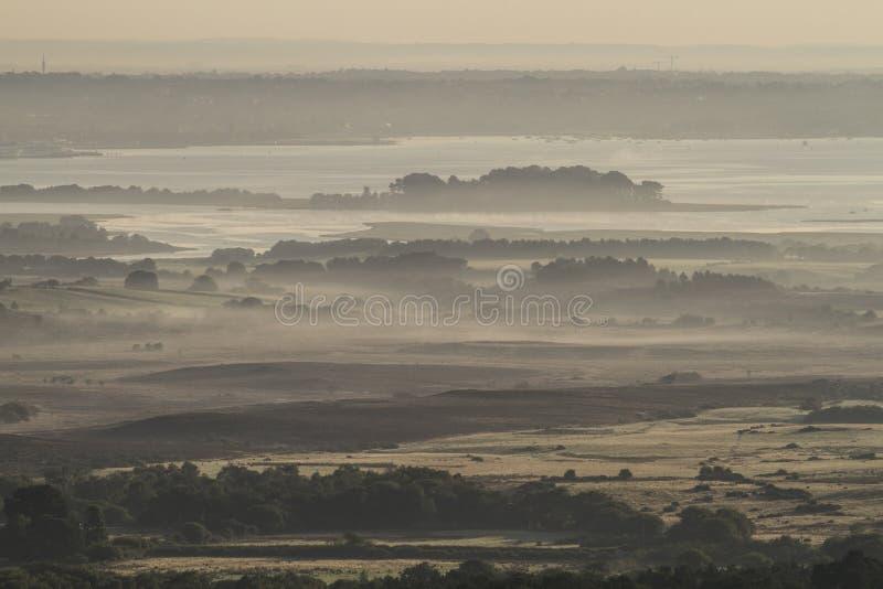 在多西特港口的有薄雾的早晨 图库摄影