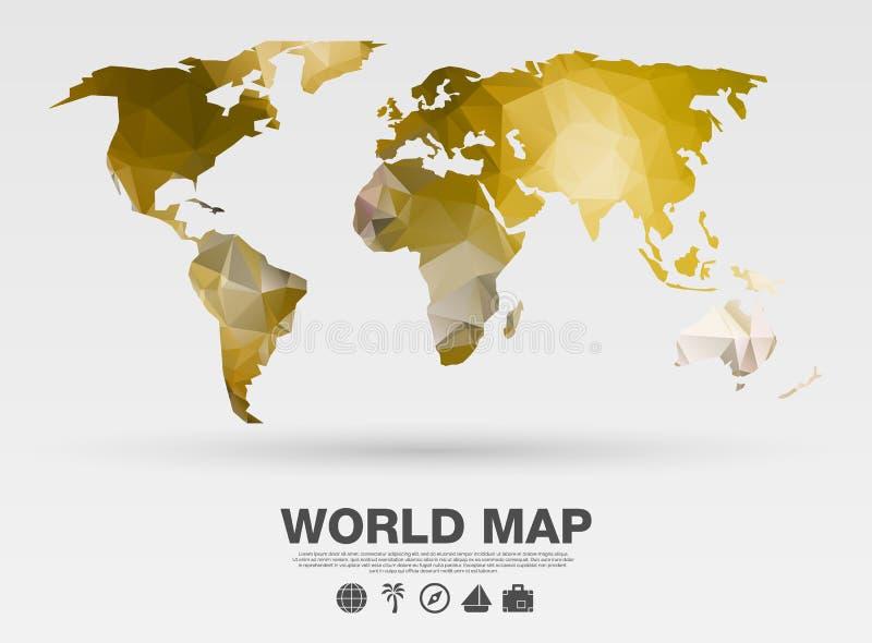 在多角形样式的世界地图背景 向量背景 金子颜色 库存例证