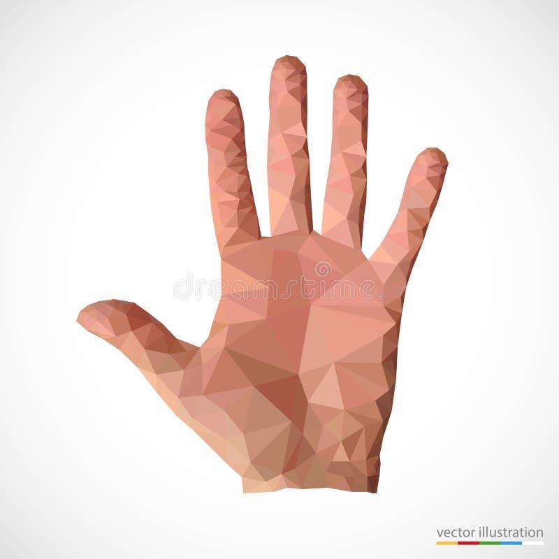 在多角形样式的人手 向量例证
