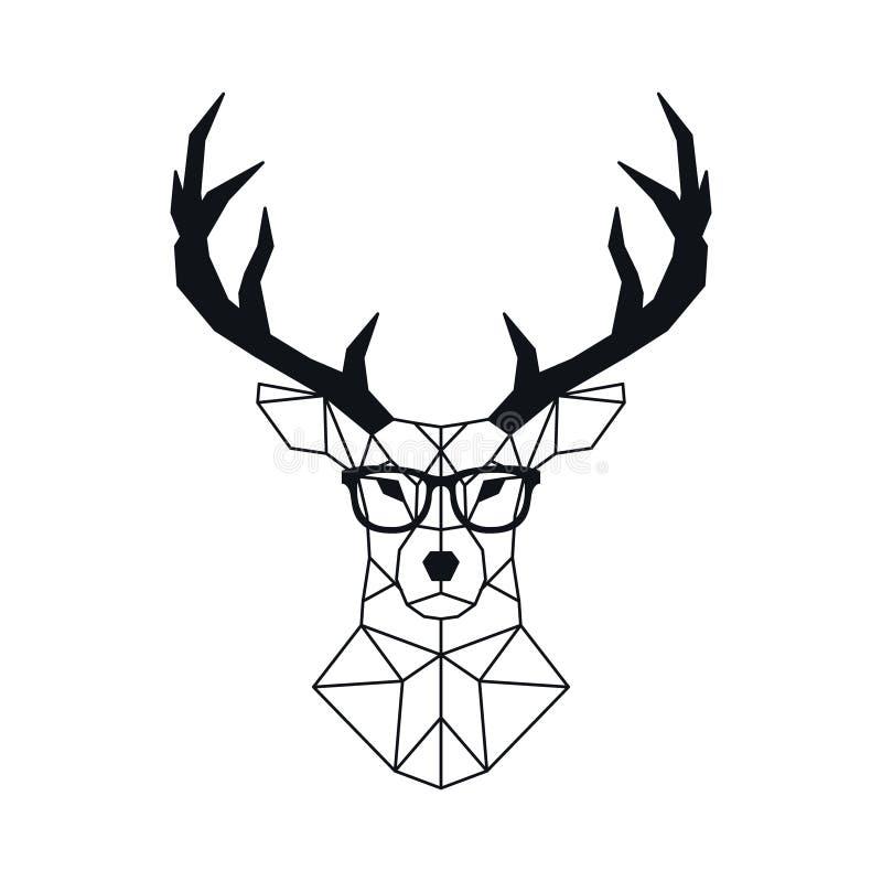 在多角形样式的抽象几何鹿头 皇族释放例证