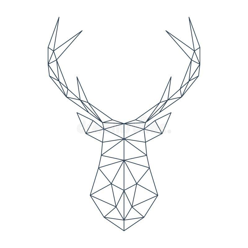 在多角形样式的鹿头 也corel凹道例证向量 库存例证