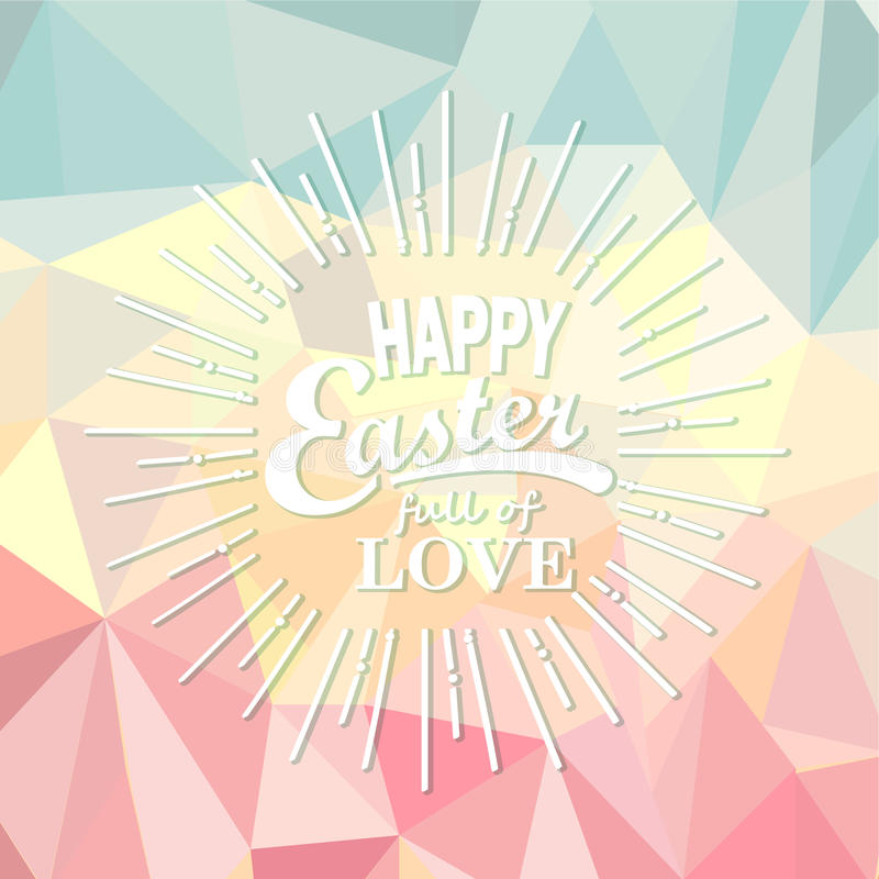 在多角形背景的复活节快乐 向量例证