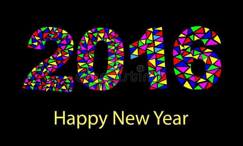 在多角形origami样式做的新年快乐2016五颜六色的贺卡 皇族释放例证