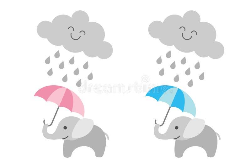 在多雨云彩下的逗人喜爱的婴孩大象-女孩和男孩 向量例证