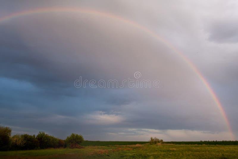 在多雨天空的背景的大彩虹 库存图片
