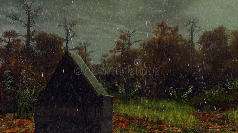 在多雨秋天夜关闭的墓碑 向量例证
