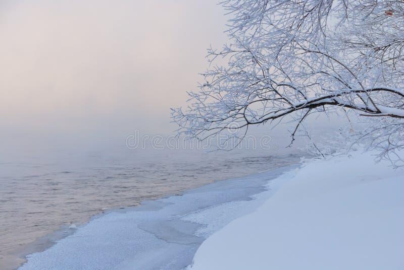 在多雪早午餐的河沿之上 库存图片