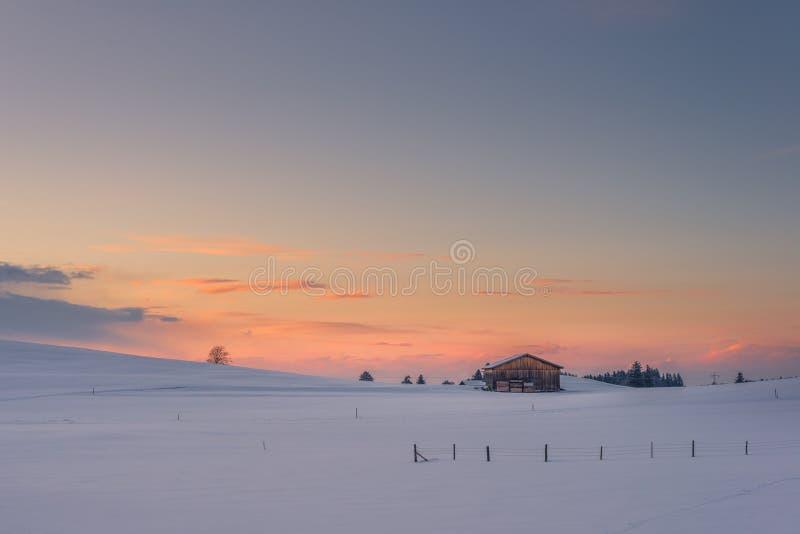 在多雪的草甸的偏僻的瑞士山中的牧人小屋冬天日落的 库存图片