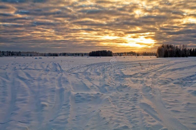 在多雪的领域的剧烈的天空 免版税库存图片