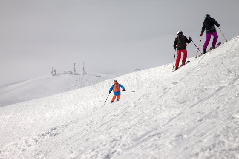 在多雪的freeride倾斜和阴暗有薄雾的天空的滑雪者下降 库存图片