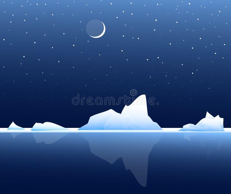 在夜传染媒介的冰山 皇族释放例证