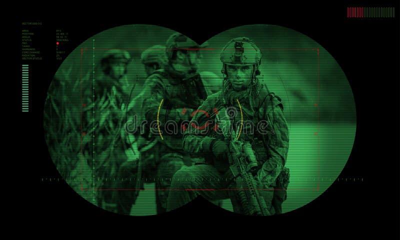 在夜使命/操作人质抢救期间的别动队员 看法throu 库存照片