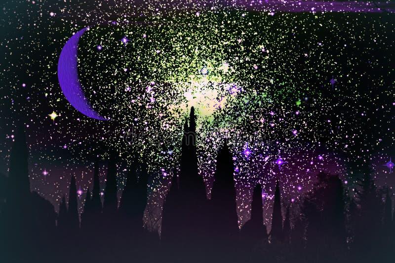 在夜和绿野仙踪石头城堡的新月形月亮  免版税库存图片