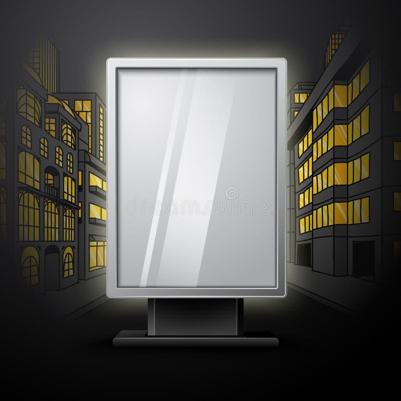 在夜城市scape的空白的白色垂直的广告牌 皇族释放例证