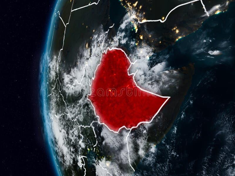 在夜期间,从空间的埃塞俄比亚 皇族释放例证