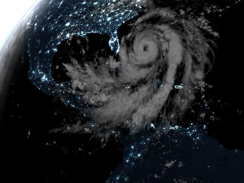 在夜期间,飓风 库存例证