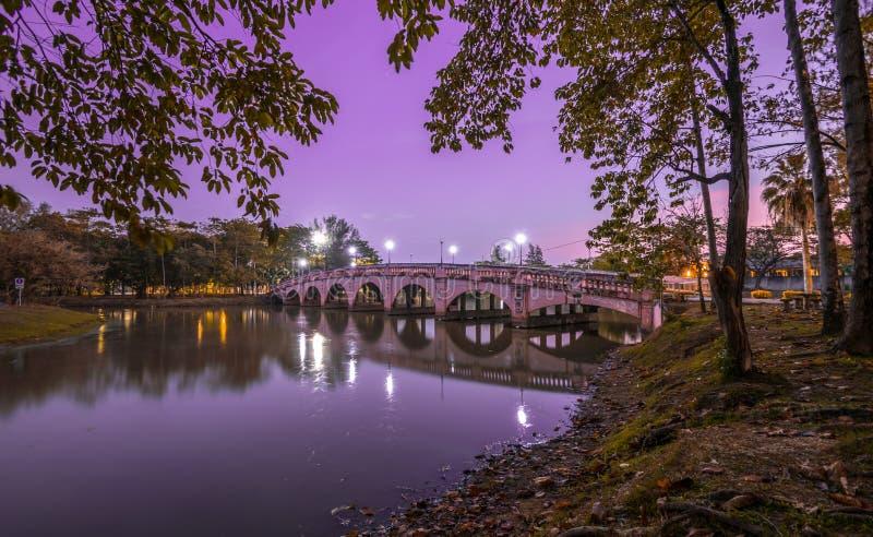 在夜河的桥梁有光天空背景 免版税库存照片