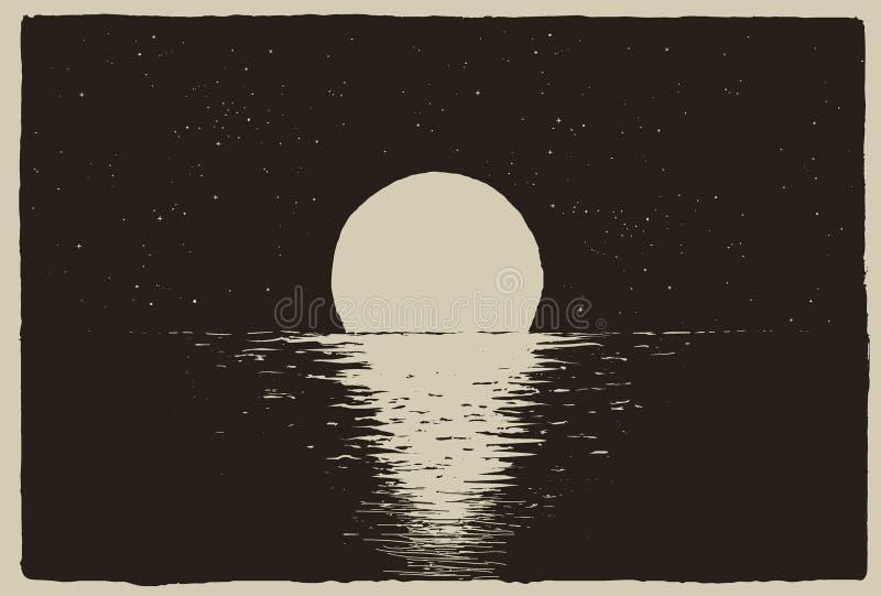 在夜海的日落海岸的 库存例证