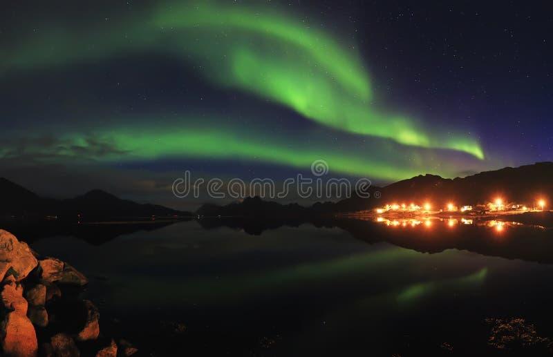 在夜满天星斗的天空的北极光 库存照片