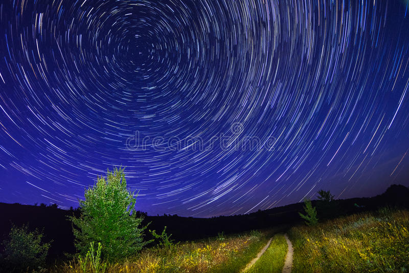 在夜空的单独树与星、startrails和乡下公路 库存照片