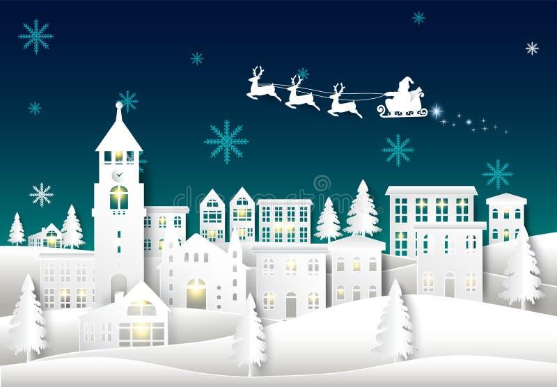 在夜空的圣诞老人在城市镇纸艺术冬天背景中 Chr 皇族释放例证