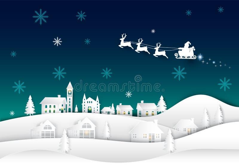 在夜空的圣诞老人在村庄纸艺术冬天背景中 库存例证