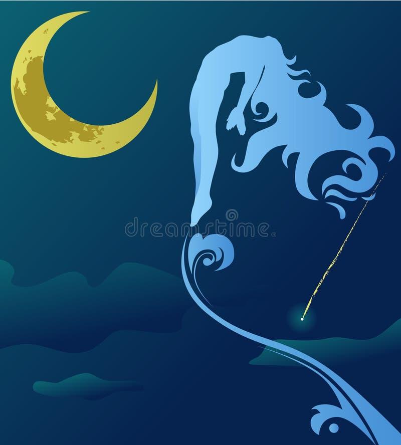 在夜空的妇女飞行 皇族释放例证