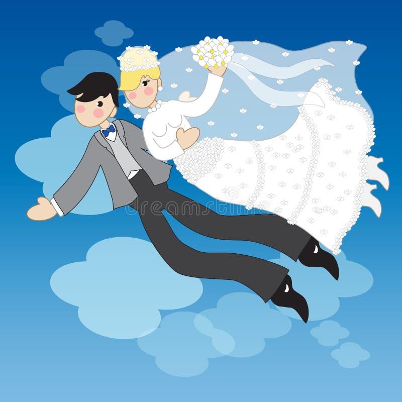 在夜空的已婚夫妇飞行 向量例证