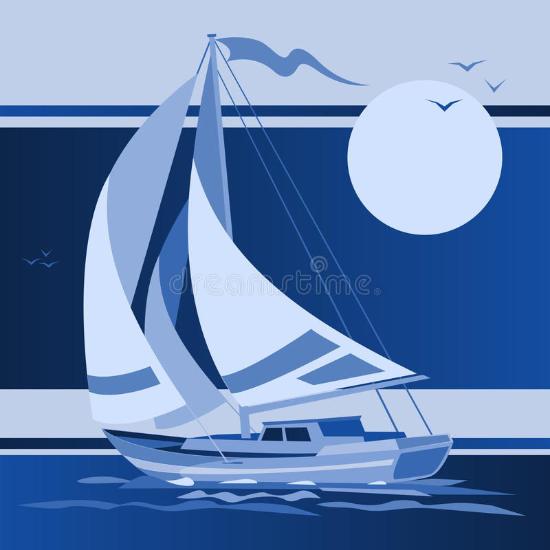 在夜空的帆船游艇 向量例证