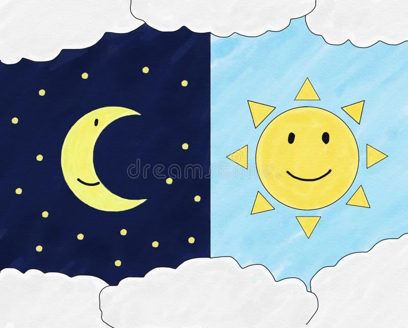 在夜空的抽象手凹道乱画月亮和太阳在天空背景,例证,文本的,水彩油漆s拷贝空间微笑 向量例证