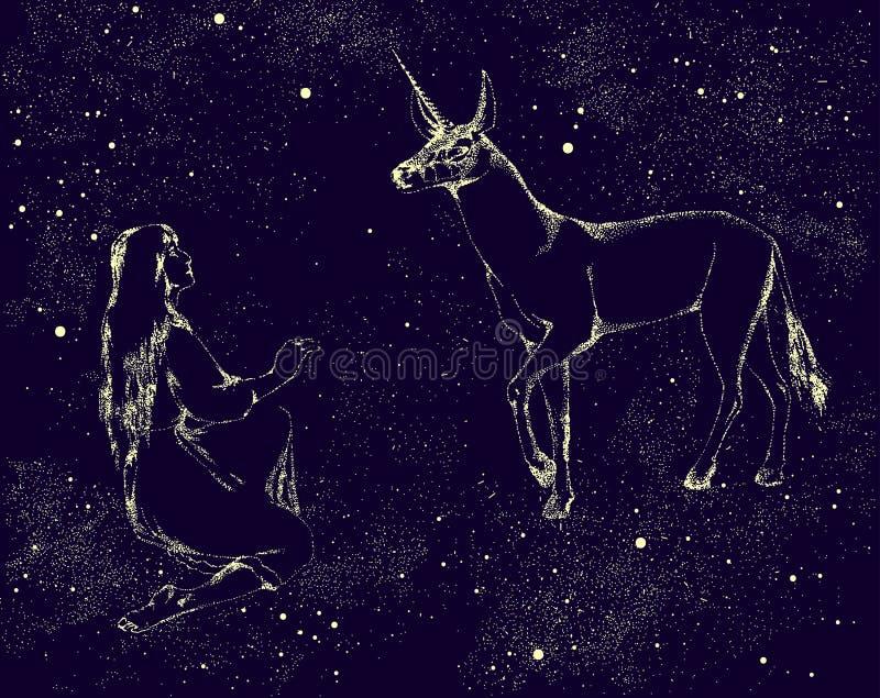 在夜空的星和女孩绘的独角兽 也corel凹道例证向量 向量例证