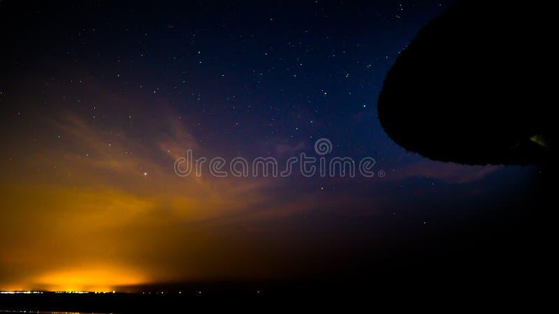 在夜空的星形 免版税库存照片