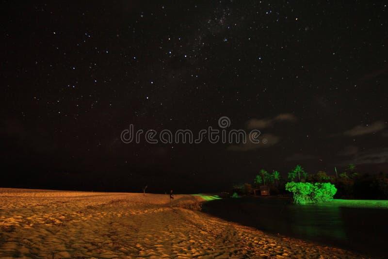 在夜空的星 免版税库存图片